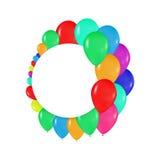 Στρογγυλά πλαίσια των ζωηρόχρωμων μπαλονιών στο ύφος του ρεαλισμού για να σχεδιάσουν τις κάρτες, γενέθλια, γάμοι, γιορτή, διακοπέ Στοκ Εικόνα