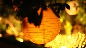 Στρογγυλά φανάρια εγγράφου Γαμήλιες διακοσμήσεις απόθεμα βίντεο