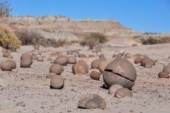 Στρογγυλές πέτρες στο εθνικό πάρκο Ischigualasto, Αργεντινή Στοκ Εικόνες