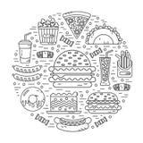 Στρογγυλή απεικόνιση του γρήγορου φαγητού Στοκ εικόνα με δικαίωμα ελεύθερης χρήσης