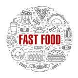 Στρογγυλή απεικόνιση του γρήγορου φαγητού Στοκ φωτογραφία με δικαίωμα ελεύθερης χρήσης