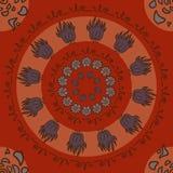 Στρογγυλή αφαίρεση με τα λουλούδια στο κόκκινο υπόβαθρο Στοκ εικόνες με δικαίωμα ελεύθερης χρήσης