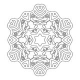 Στρογγυλή διακόσμηση για το χρωματισμό των βιβλίων Μαύρο, άσπρο σχέδιο Δαντέλλα, snowflake Στοκ Φωτογραφία