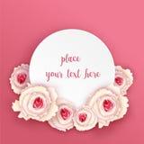 Στρογγυλή κάρτα με τα τριαντάφυλλα Στοκ φωτογραφία με δικαίωμα ελεύθερης χρήσης