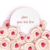 Στρογγυλή κάρτα με τα τριαντάφυλλα Στοκ εικόνα με δικαίωμα ελεύθερης χρήσης