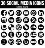 Στρογγυλή κοινωνική συλλογή εικονιδίων μέσων - ο Μαύρος απεικόνιση αποθεμάτων