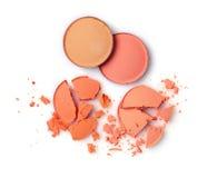Στρογγυλή συντριφθείσα πορτοκάλι σκιά ματιών για το makeup ως δείγμα του προϊόντος καλλυντικών στοκ εικόνα με δικαίωμα ελεύθερης χρήσης