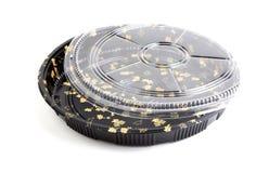 Στρογγυλή συσκευασία σουσιών πιάτων που απομονώνεται Στοκ Εικόνες