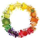 Στρογγυλή σύνθεση με τα φρούτα και λαχανικά Κύκλος τροφίμων ελεύθερη απεικόνιση δικαιώματος