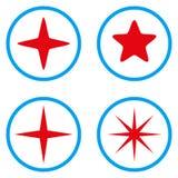 Στρογγυλευμένα αστέρι διανυσματικά εικονίδια Στοκ Εικόνα