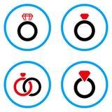 Στρογγυλευμένα δαχτυλίδι διανυσματικά εικονίδια πολύτιμων λίθων Στοκ φωτογραφία με δικαίωμα ελεύθερης χρήσης
