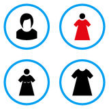 Στρογγυλευμένα γυναίκα διανυσματικά εικονίδια Στοκ φωτογραφία με δικαίωμα ελεύθερης χρήσης