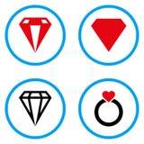 Στρογγυλευμένα διαμάντι διανυσματικά εικονίδια Στοκ Φωτογραφίες
