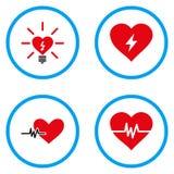 Στρογγυλευμένα καρδιά διανυσματικά εικονίδια δύναμης Στοκ Εικόνες
