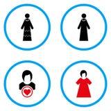 Στρογγυλευμένα νύφη διανυσματικά εικονίδια Στοκ εικόνες με δικαίωμα ελεύθερης χρήσης