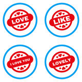 Στρογγυλευμένα σφραγίδα διανυσματικά εικονίδια γραμματοσήμων αγάπης Στοκ φωτογραφίες με δικαίωμα ελεύθερης χρήσης