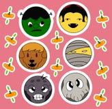 Στρογγυλοί αστείοι κρεμώντας χαρακτήρες αποκριών Στοκ Φωτογραφίες