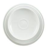 Στρογγυλός κεραμικός άσπρος σωρός πιάτων που απομονώνεται Στοκ φωτογραφία με δικαίωμα ελεύθερης χρήσης