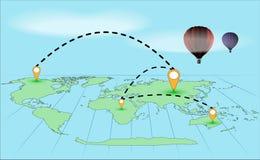 Στρογγυλός-ο-παγκόσμιο ταξίδι σε ένα μπαλόνι Στοκ φωτογραφία με δικαίωμα ελεύθερης χρήσης