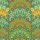 Στρογγυλό άνευ ραφής σχέδιο mandala Αραβική, ινδική, ισλαμική, οθωμανική διακόσμηση Κίτρινο και πράσινο floral σχέδιο, μοτίβο Στοκ εικόνα με δικαίωμα ελεύθερης χρήσης
