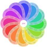 Στρογγυλό ημερολόγιο για το 2014 στο χρώμα ουράνιων τόξων Στοκ εικόνα με δικαίωμα ελεύθερης χρήσης