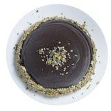 Στρογγυλό κέικ με τη σοκολάτα, το φουντούκι, τη βανίλια και το κακάο Στοκ Εικόνες