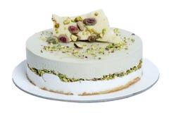 Στρογγυλό κέικ με τη σοκολάτα, το φουντούκι, τη βανίλια και το κακάο Στοκ εικόνες με δικαίωμα ελεύθερης χρήσης