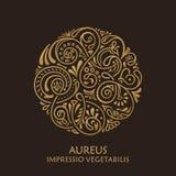 Στρογγυλό καλλιγραφικό έμβλημα Διανυσματικό floral σύμβολο για τον καφέ Στοκ Εικόνες