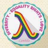 Στρογγυλό κουμπί με το ζωηρόχρωμο σύμβολο λάμδα για τα δικαιώματα ισότητας LGBT, διανυσματική απεικόνιση Στοκ Φωτογραφίες