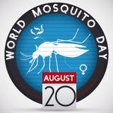 Στρογγυλό κουμπί που ανιχνεύει ένα θηλυκό κουνούπι για την ημέρα παγκόσμιων κουνουπιών, διανυσματική απεικόνιση Στοκ εικόνες με δικαίωμα ελεύθερης χρήσης