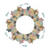 Στρογγυλό πλαίσιο με τα ζωηρόχρωμα κτήρια πόλεων doodle Στοκ Εικόνα