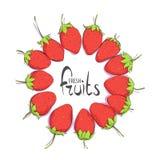 Στρογγυλό πλαίσιο των φραουλών απεικόνιση αποθεμάτων