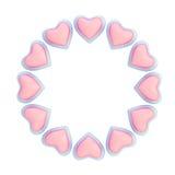 Στρογγυλό πλαίσιο φιαγμένο από καρδιές που απομονώνονται Στοκ φωτογραφίες με δικαίωμα ελεύθερης χρήσης