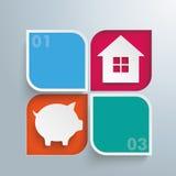 2 στρογγυλό σπίτι τράπεζας Piggy τρυπών τετραγώνων Στοκ Φωτογραφία