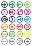 Στρογγυλό σύνολο εικονιδίων βελών διανυσματικό που απομονώνεται στο λευκό Στοκ εικόνα με δικαίωμα ελεύθερης χρήσης