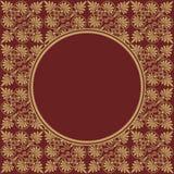 Στρογγυλό Burgundy πλαίσιο στην άνευ ραφής σύσταση με την ελληνική διακόσμηση Στοκ φωτογραφία με δικαίωμα ελεύθερης χρήσης