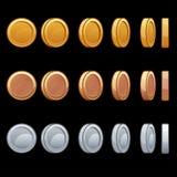 Στροφές νομισμάτων ζωτικότητας περιστροφής κινούμενων σχεδίων γύρω Στοκ Εικόνα