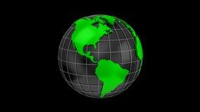 Στροφές παγκόσμιων χαρτών σε μια σφαίρα απόθεμα βίντεο