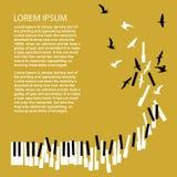 Στροφή κλειδιών πιάνων στα πουλιά Πρότυπο για την αφίσα συναυλίας Ανακοίνωση φεστιβάλ μουσικής απεικόνιση αποθεμάτων