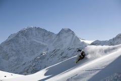 στροφή σκι σκονών freeride Στοκ Εικόνα