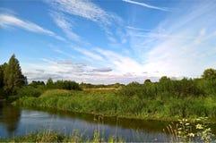 Στροφή του δασικού ποταμού Στοκ Εικόνες