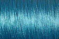 Στροφίο του μπλε μακρο υποβάθρου νημάτων Στοκ Φωτογραφίες