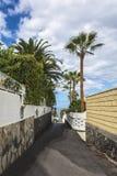 Στρωμένη πορεία που οδηγεί στο ωκεάνιο Los Gigantos, Tenerife, Ισπανία Στοκ Φωτογραφία