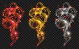 Στρόβιλοι των ακτινοβολώντας γραμμών με τις καρδιές Στοκ Εικόνα