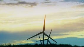 Στρόβιλος δύναμης αιολικής ενέργειας Καθαροί και ανανεώσιμοι πόροι ενέργειας ηλεκτρικής ενέργειας απόθεμα βίντεο