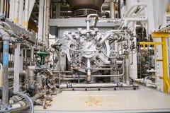 Στρόβιλος μηχανών στις εγκαταστάσεις πετρελαίου και φυσικού αερίου για τη μονάδα συμπιεστών κίνησης για τη λειτουργία Στρόβιλος π Στοκ Εικόνα