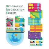 Στρώματα στοιχείων έννοιας GIS για Infographic στοκ φωτογραφία