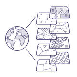 Στρώματα στοιχείων έννοιας GIS για Infographic ελεύθερη απεικόνιση δικαιώματος