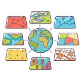 Στρώματα στοιχείων έννοιας GIS για Infographic στοκ εικόνα με δικαίωμα ελεύθερης χρήσης