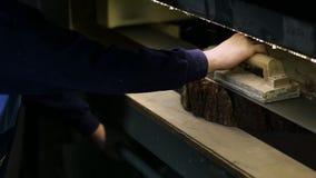 Στρώνοντας με άμμο φέτα κούτσουρων ξυλουργών με το μύλο ζωνών απόθεμα βίντεο